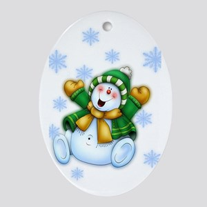 Happy Snowman Ornament (Oval)
