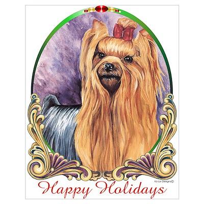 Yorkie Dog Happy Holiday Poster