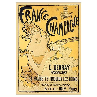 E Debray French Champagne Poster