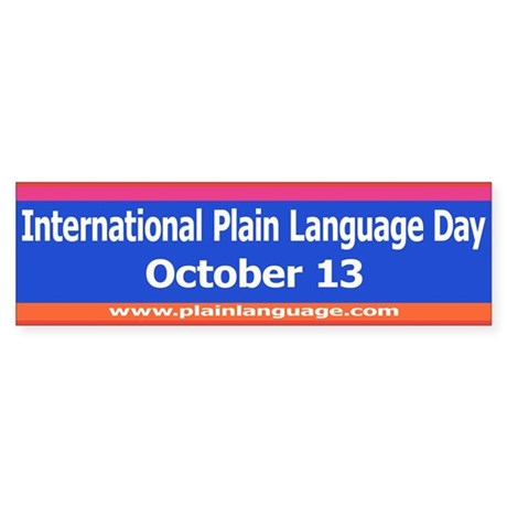 International Plain Language Sticker (Bumper)