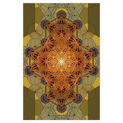 Sacred Geometry Metatron's Cube Mandala Two Poster