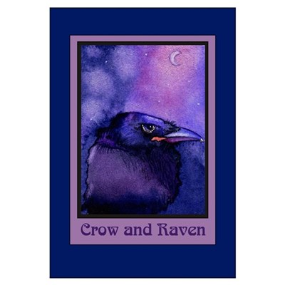 Night Crow Raven & Moon Poster