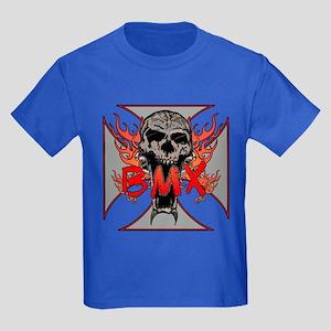 BMX skull 5 Kids Dark T-Shirt