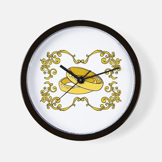Gold Wedding Rings with Swirls Wall Clock