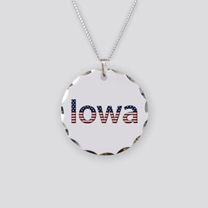 Iowa Stars and Stripes Necklace Circle Charm