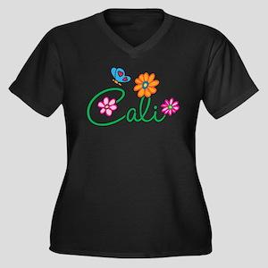 Cali Flowers Women's Plus Size V-Neck Dark T-Shirt