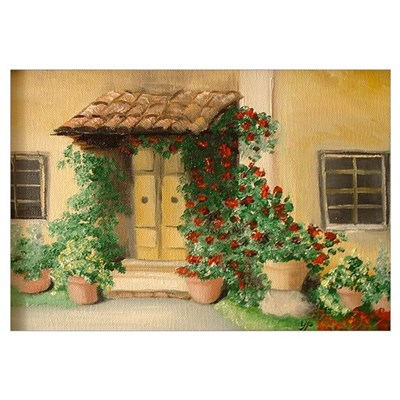 """Welcome"" Tuscan Cottage Framed Print"