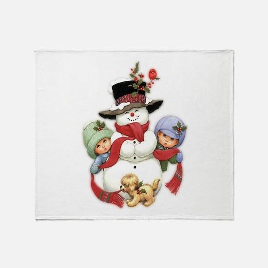 Snowman w/ Kids Throw Blanket