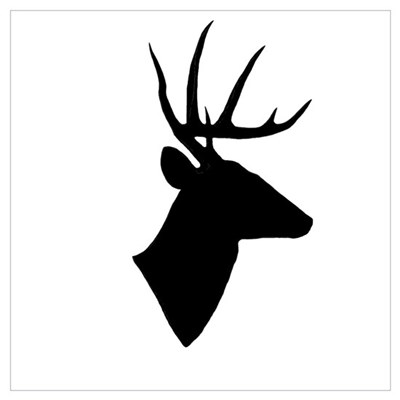 Whitetail Deer Silhouette Canvas Art