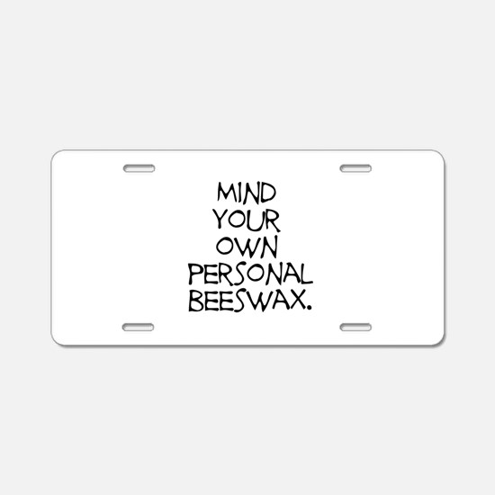 Personal Beeswax Aluminum License Plate