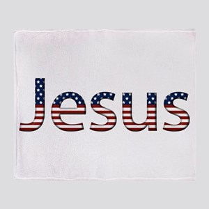 Jesus Stars and Stripes Throw Blanket