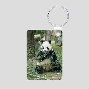 Panda Eating Aluminum Photo Keychain