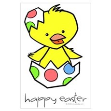 """""""Happy Easter"""" Chick Poster"""