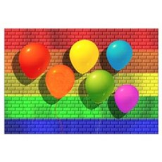 6 RAINBOW BALLOONS/BRICK WALL Framed Print