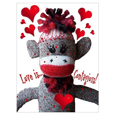Love Is Contagious Sock Monkey Valentine Large Pos Framed Print