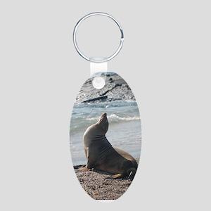 Sea Lion 2 Aluminum Oval Keychain