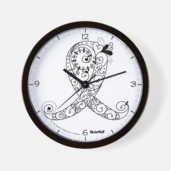 Curly Ribbon (White/Black) Wall Clock