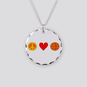Peace Love Basketball Necklace Circle Charm