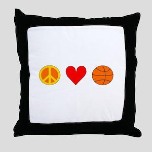 Peace Love Basketball Throw Pillow
