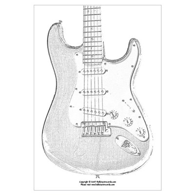 Pencil sketch guitar canvas art