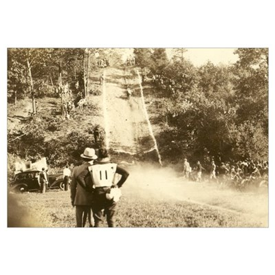 Vintage Motorcycle Hill Climb Canvas Art