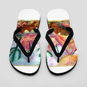 Desert, southwest, art, Flip Flops