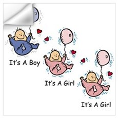 It's a Boy Girl Girl Triplets Wall Decal