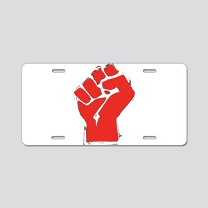 Raised Fist Aluminum License Plate