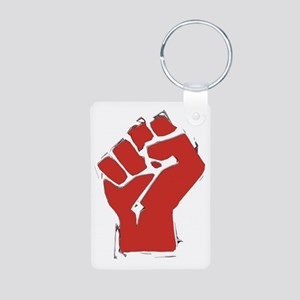 Raised Fist Aluminum Photo Keychain