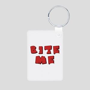 Bite Me! design Aluminum Photo Keychain