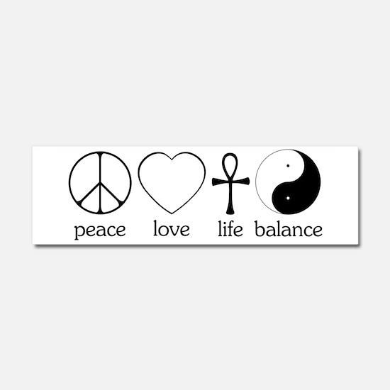 Peace Love Life Balance Car Magnet 10 x 3