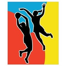 netball player jumping Poster