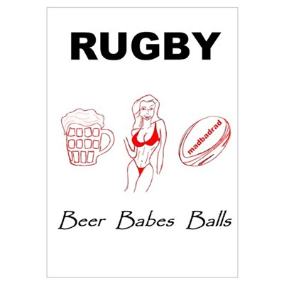 Rugby: Beer Babes Balls Poster