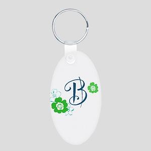 B Aluminum Oval Keychain