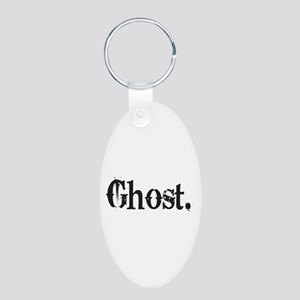 Grunge Ghost Aluminum Oval Keychain