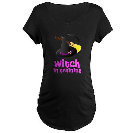 Witch in training hat broom b Maternity Dark T-Shi