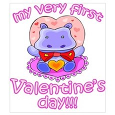First Valentine's Day Hippo Poster
