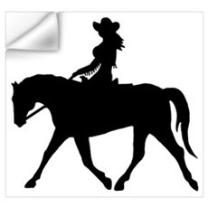 Cute Cowgirl on Horse Wall Decal