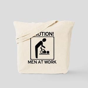 Caution: Men At Work - Diaper Tote Bag