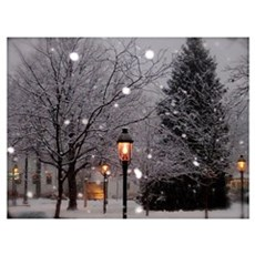 Snowy Street Lamps Wall Art Canvas Art