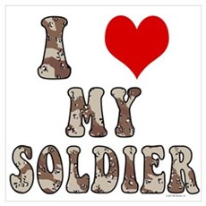 I Love (heart) My Soldier Framed Print