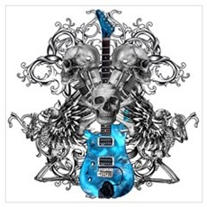 Praying Angel Skeleton Guitar Poster