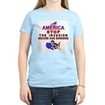 Immigrant Stop The Invasion Women's Pink T-Shirt
