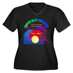 superbeat Women's Plus Size V-Neck Dark T-Shirt