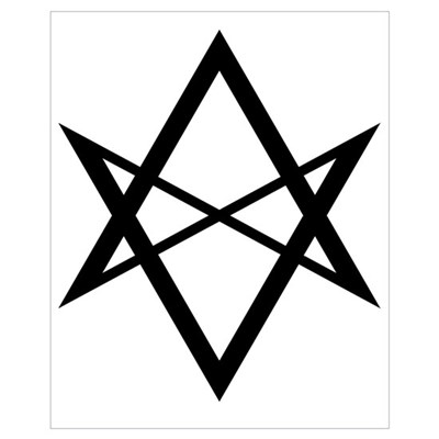 Black Unicursal Hexagram Poster