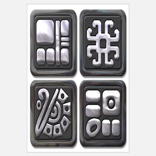 Mayan Glyphs-black & silver