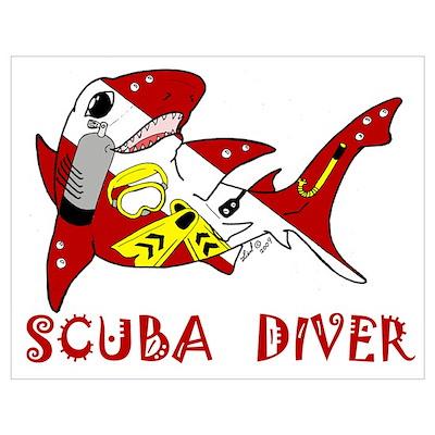 SCUBA Shark Poster