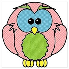 Pink Dotty Owl Poster
