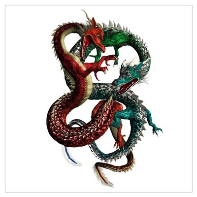 Chaos Red & Green Dragons Canvas Art
