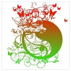 Buddha Design in Red and Gree Poster